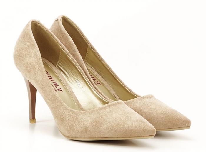 Pantofi aurii cu toc mediu Freya 5