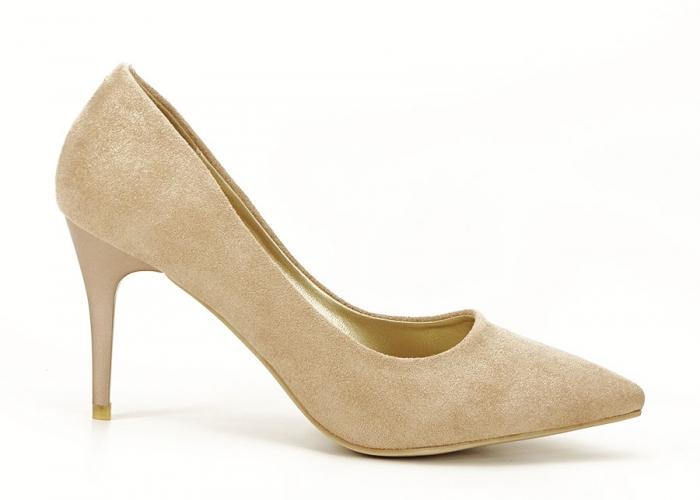Pantofi aurii cu toc mediu Freya 1