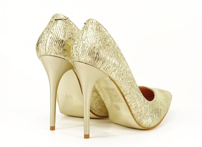 Pantofi eleganti aurii stiletto cu toc foarte inalt Ingrid 2
