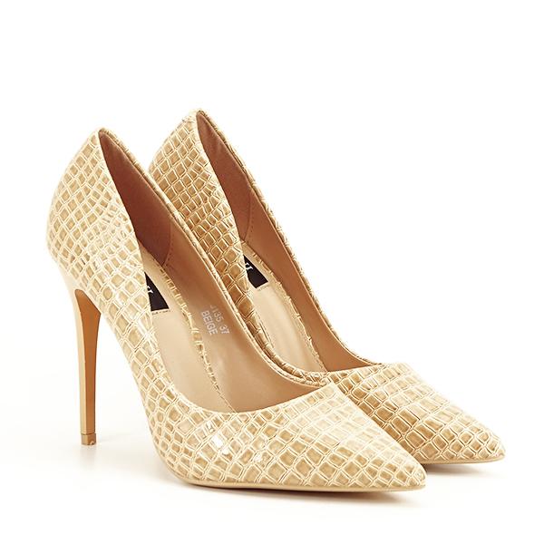 Pantofi bej cu imprimeu Alice [2]