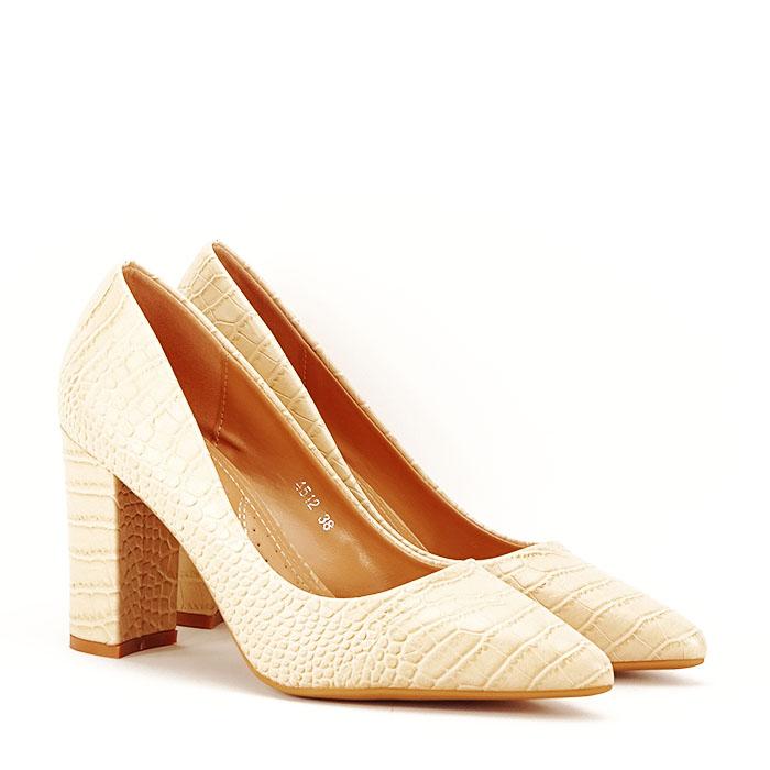 Pantofi bej cu imprimeu Dalma 3