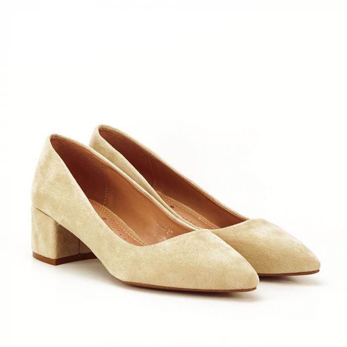 Pantofi bej cu toc mic Carla [2]