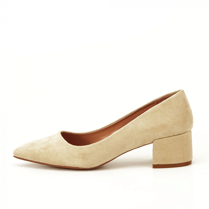 Pantofi bej cu toc mic Carla [0]