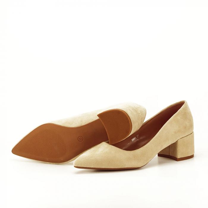 Pantofi bej cu toc mic Carla [7]