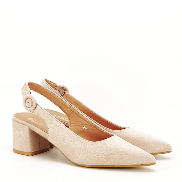 Pantofi bej cu toc mic Simina [2]