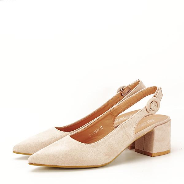 Pantofi bej cu toc mic Simina [0]