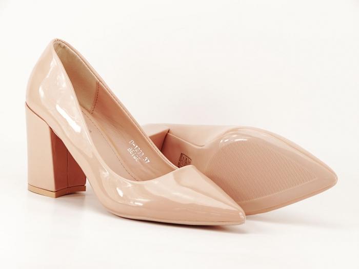 Pantofi bej dama de lac cu toc gros Iris 2