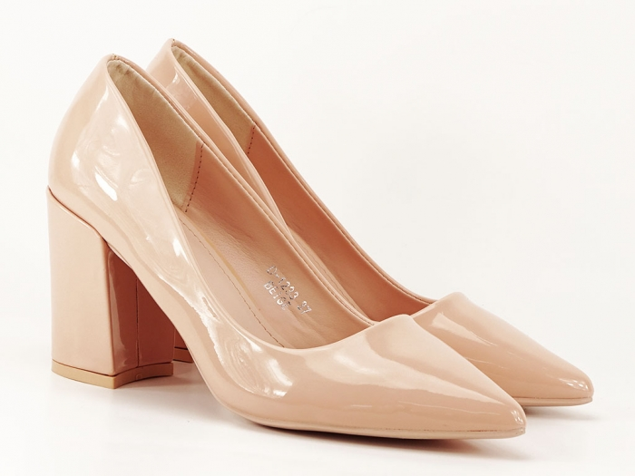 Pantofi bej dama de lac cu toc gros Iris 1