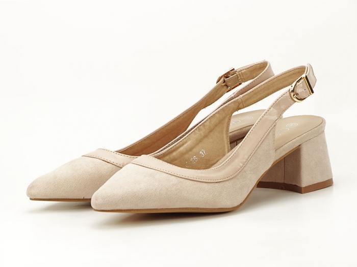 Pantofi bej decupati la spate Doris 6