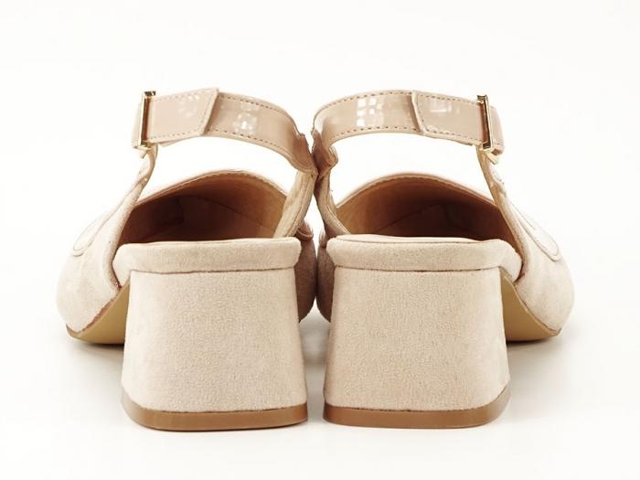 Pantofi bej decupati la spate Doris 3