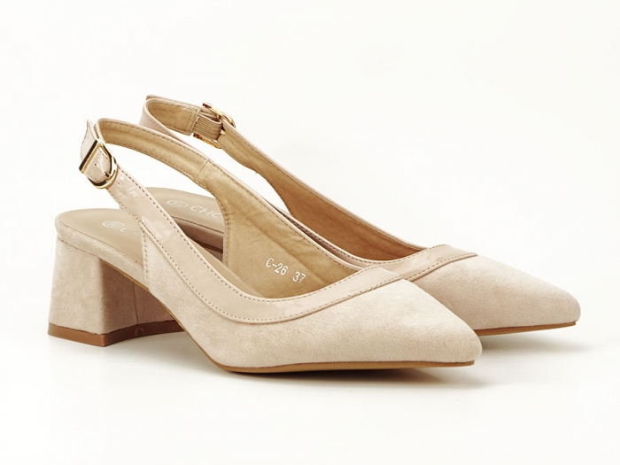 Pantofi bej decupati la spate Doris 1