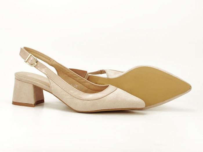Pantofi bej decupati la spate Doris 4