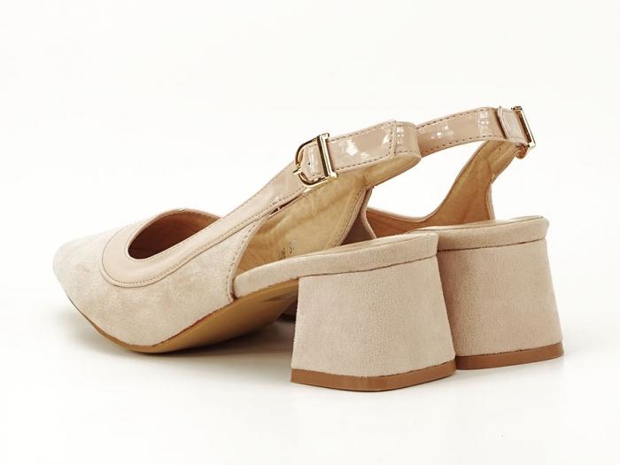 Pantofi bej decupati la spate Doris 2