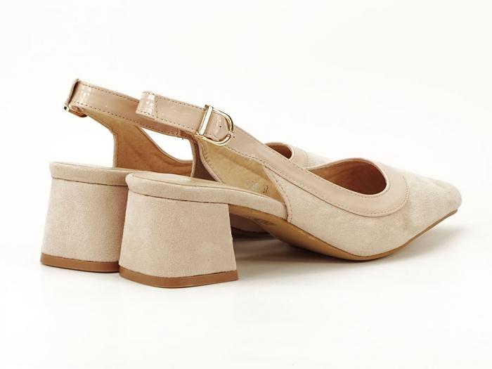 Pantofi bej decupati la spate Doris 5