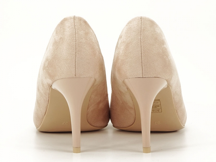 Pantofi bej cu toc mediu subtire Serenity 3