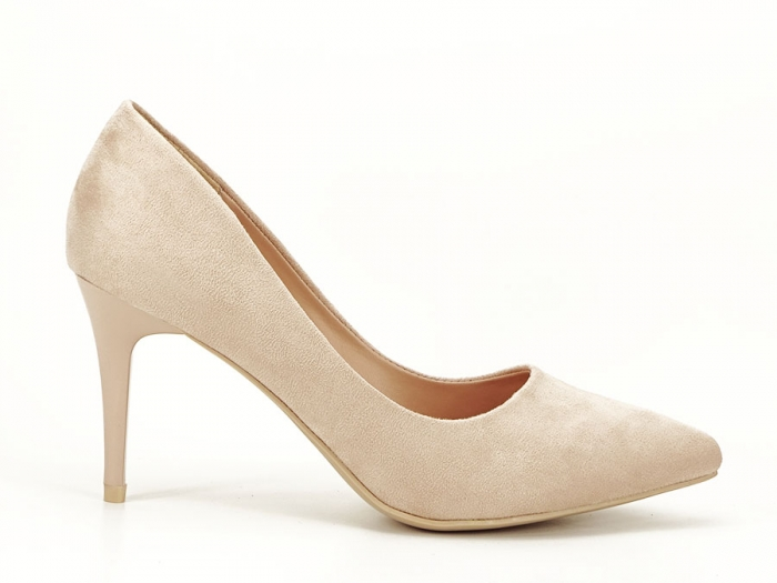 Pantofi bej cu toc mediu subtire Serenity 0