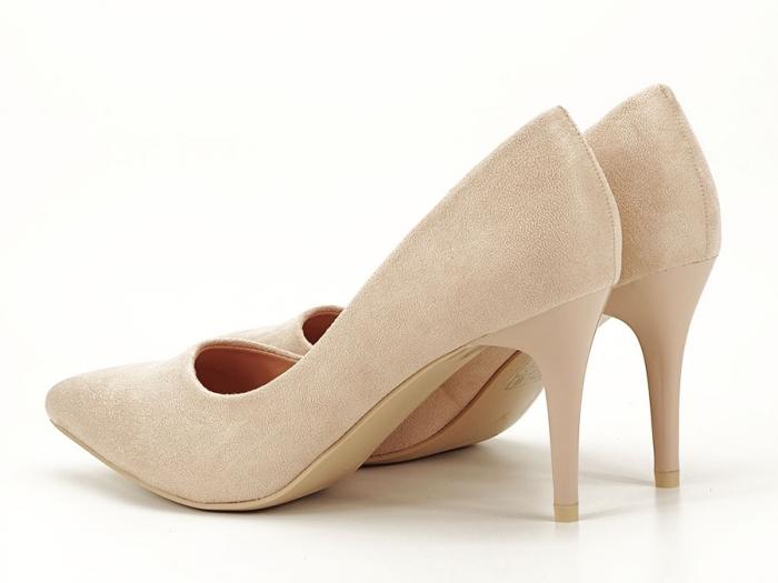 Pantofi bej cu toc mediu subtire Serenity 1