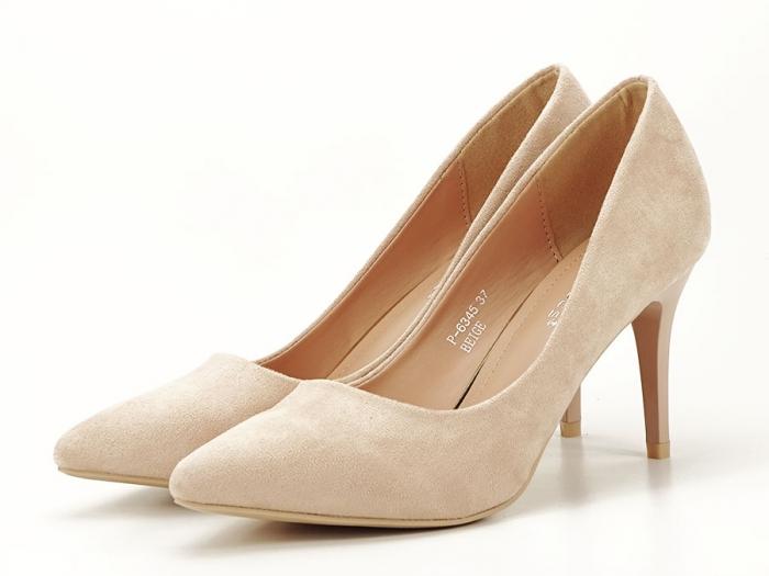 Pantofi bej cu toc mediu subtire Serenity 4