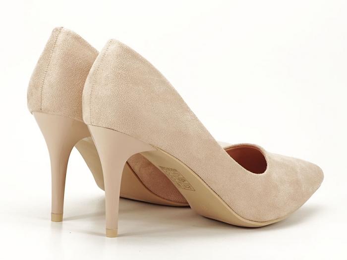 Pantofi bej cu toc mediu subtire Serenity 7