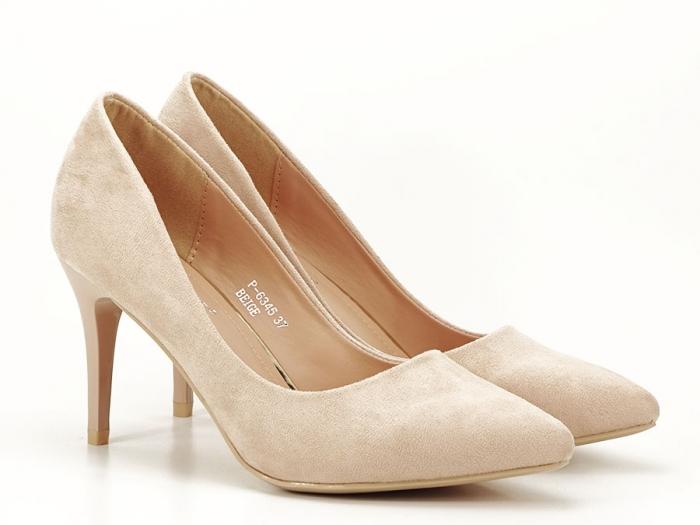 Pantofi bej cu toc mediu subtire Serenity 2