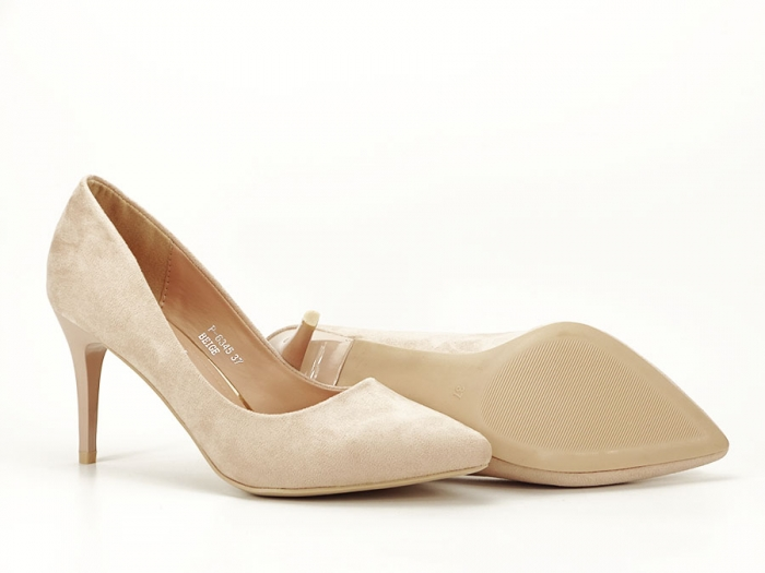Pantofi bej cu toc mediu subtire Serenity 6