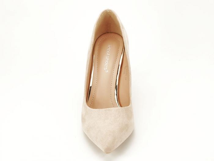 Pantofi bej cu toc mediu subtire Serenity 5