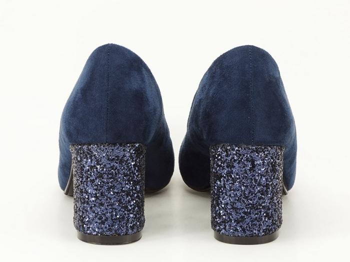 Pantofi bleumarin cu sclipici pe toc Lari 6