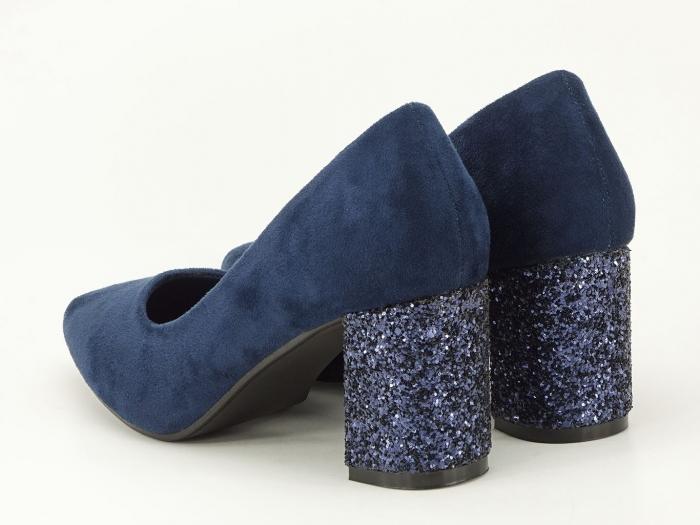 Pantofi bleumarin cu sclipici pe toc Lari 7