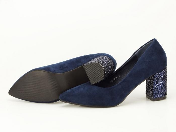 Pantofi bleumarin cu sclipici pe toc Lari 1