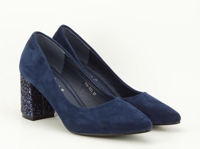 Pantofi bleumarin cu sclipici pe toc Lari 2