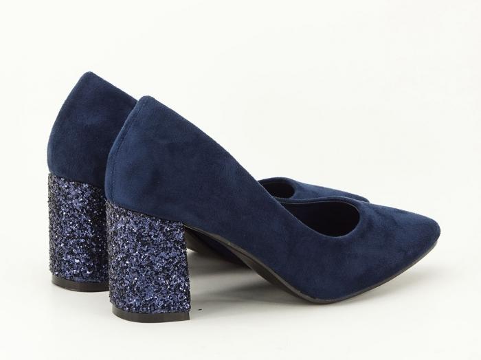 Pantofi bleumarin cu sclipici pe toc Lari 5