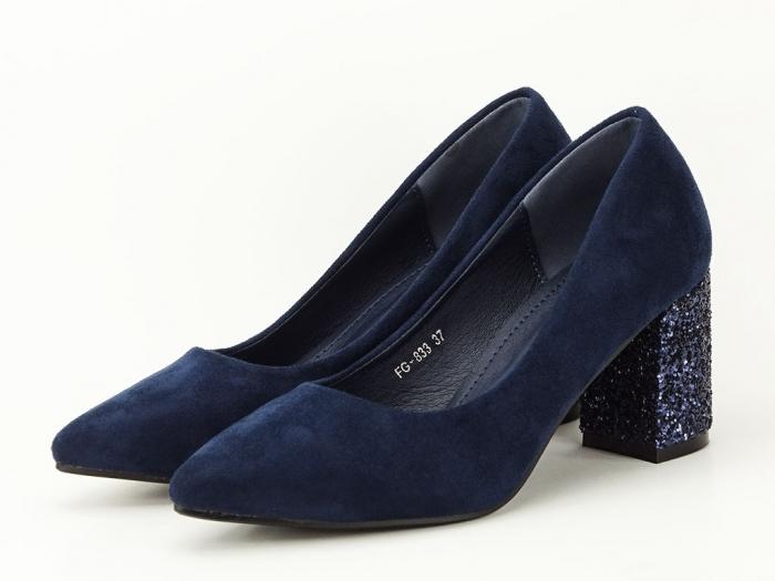 Pantofi bleumarin cu sclipici pe toc Lari 4