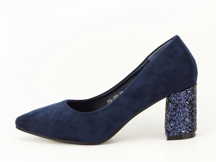 Pantofi bleumarin cu sclipici pe toc Lari 0