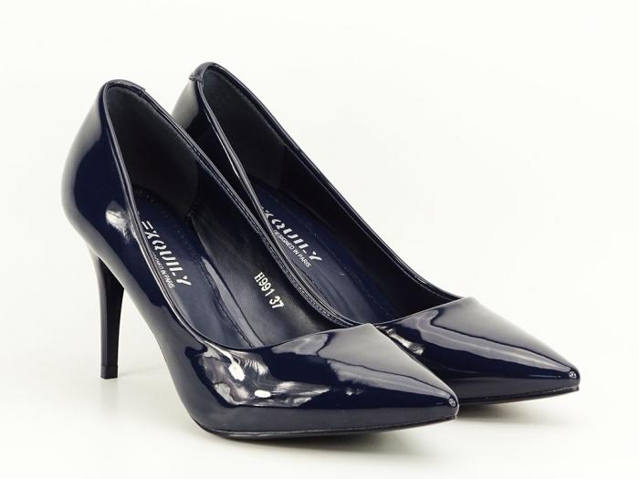 Pantofi cu toc bleumarin de lac Helga 4