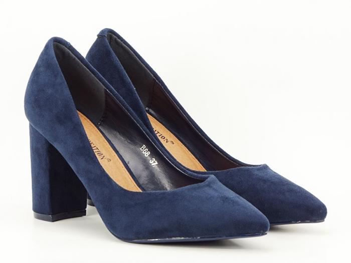 Pantofi bluemarin cu toc gros Anina 1