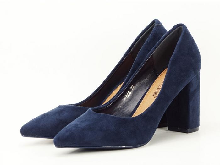 Pantofi bluemarin cu toc gros Anina 5