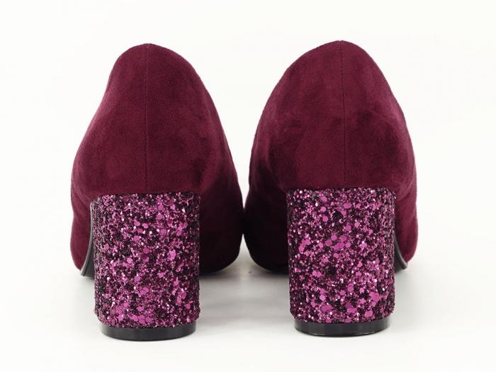 Pantofi bordo cu sclipici pe toc Lari 6