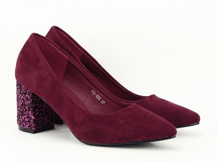 Pantofi bordo cu sclipici pe toc Lari 4