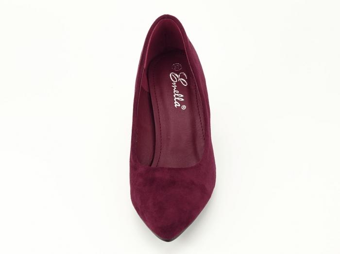 Pantofi bordo cu sclipici pe toc Lari 3