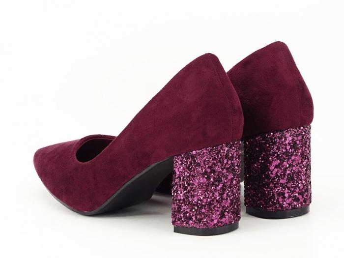 Pantofi bordo cu sclipici pe toc Lari 5