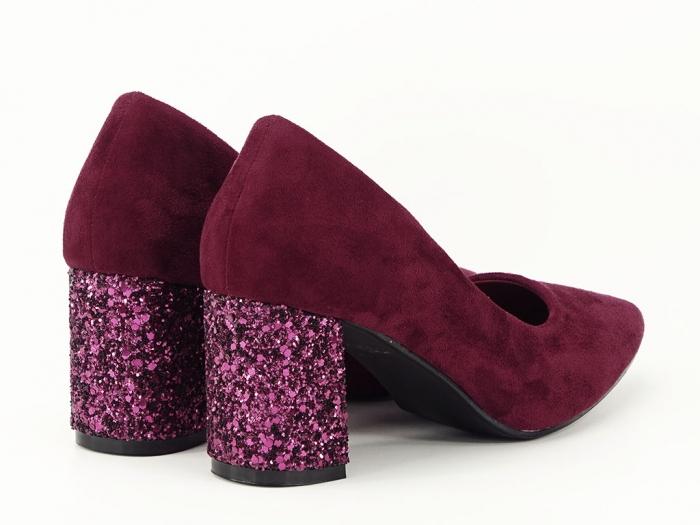 Pantofi bordo cu sclipici pe toc Lari 7