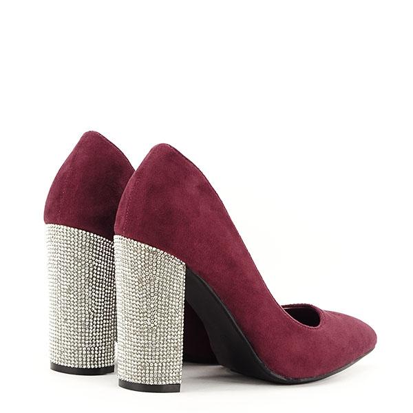 Pantofi bordo cu toc Debbie 4