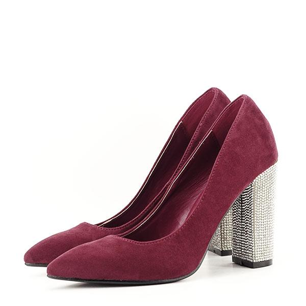 Pantofi bordo cu toc Debbie 1
