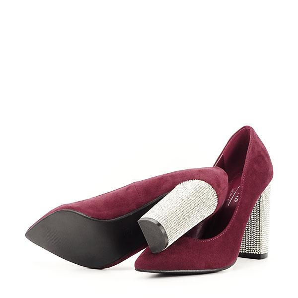 Pantofi bordo cu toc Debbie 6