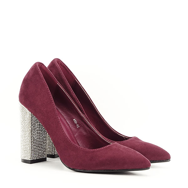 Pantofi bordo cu toc Debbie 2