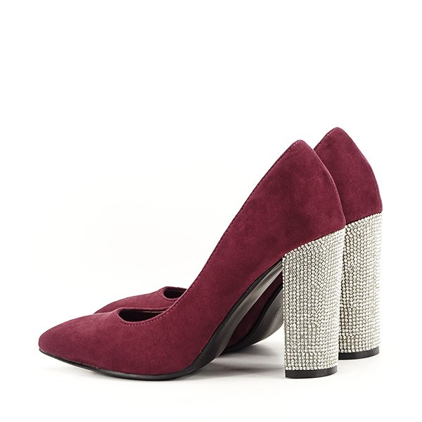 Pantofi bordo cu toc Debbie 3