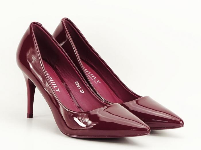 Pantofi bordo de lac cu toc mediu Helga 6