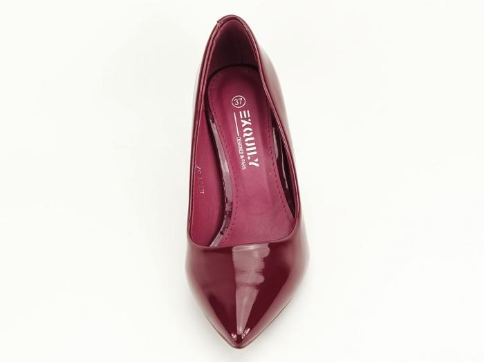 Pantofi bordo de lac cu toc mediu Helga 4