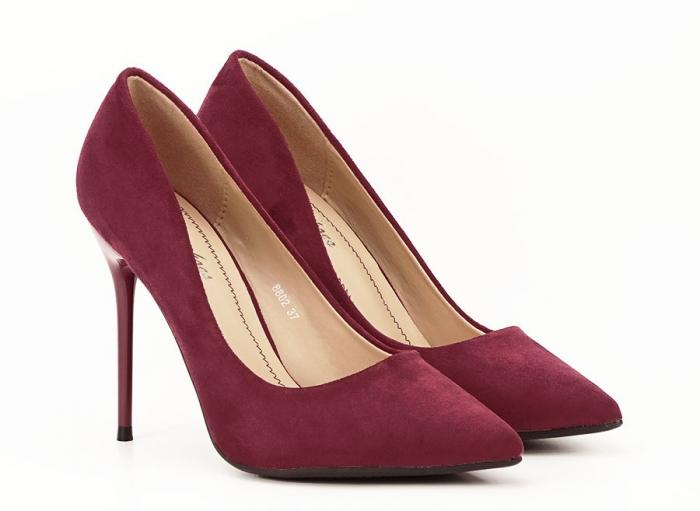 Pantofi bordo eleganti cu toc cui Ayline 4