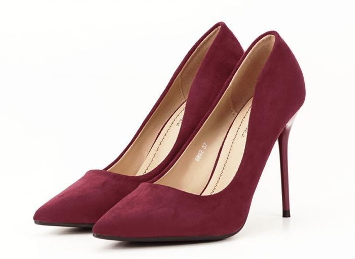 Pantofi bordo eleganti cu toc cui Ayline 2